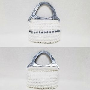 Vintage 70s Accento Craft White Beaded Tote Bag
